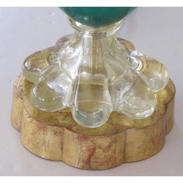 An Italian Teal Cased-Glass Double-Handled Urn-Form Lamp - Image 5 of 5