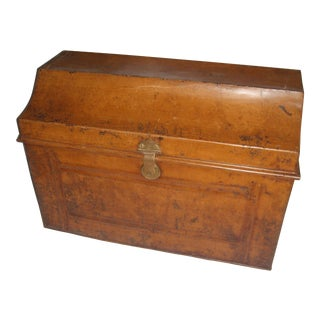Victorian Coffin Top English Painted Tin Trunk