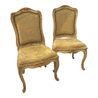 Fortuny Green & Gold Chairs - A Pair