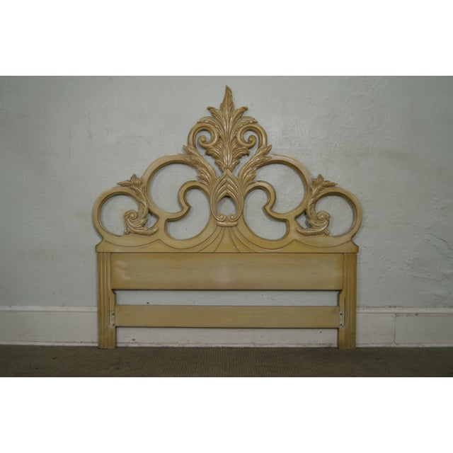 Vintage Queen Size Painted Rococo Style Headboard - Image 2 of 10