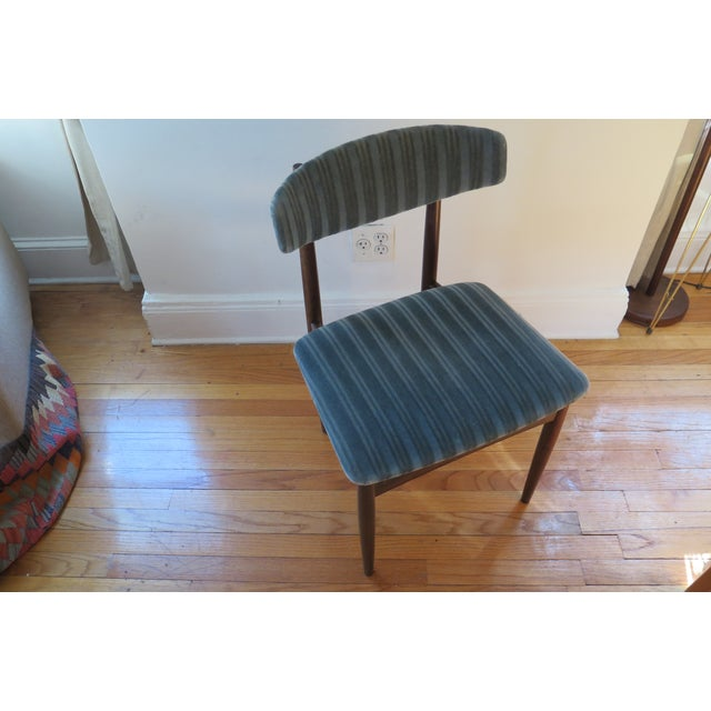 Mid-Century Teal Upholstered Chairs - A Pair - Image 5 of 5
