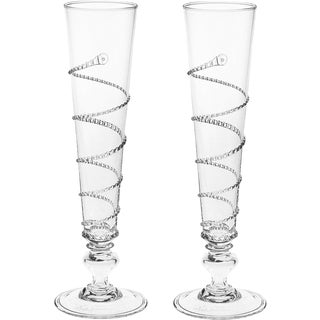 Juliska Amalia New in Box Champagne Flutes - A Pair