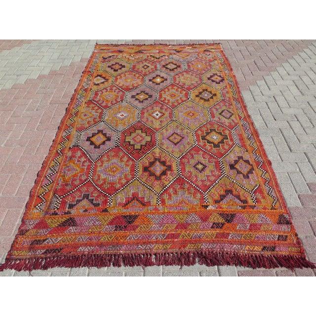 """Vintage Embroidered Turkish Kilim - 5'7"""" x 9'6"""" - Image 2 of 8"""