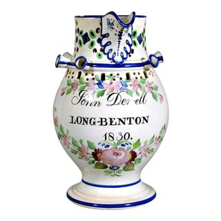 Newcastle Pearlware Botanical Pottery Presentation Puzzle Jug, Inscribed John Denvell, Long-Benton & Dated 1830.