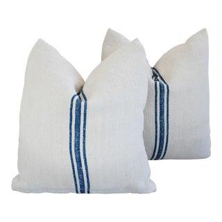 Blue Stripe French Grain Sack Pillows - Pair