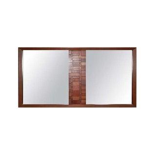 Lane Mid-Century Brutalist Walnut Wall Mirror