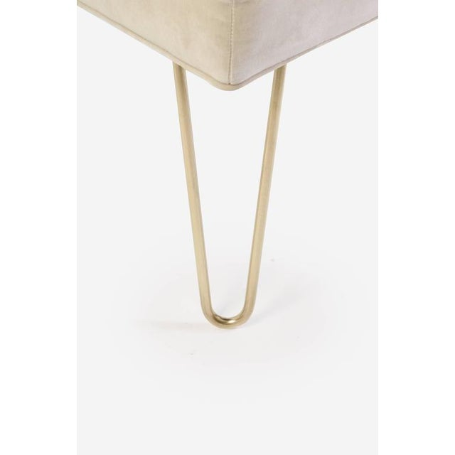 Petite Brass Hairpin Ottomans in Oyster Velvet by Montage - Image 7 of 8