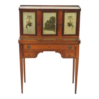 Inlaid English Satinwood Desk W/ Eglomise Doors