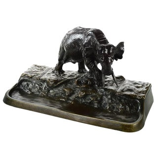 Austrian Bronze Elephant Sculpture Inkwell Stand
