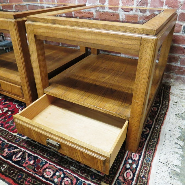 Vintage Wooden Glass Top Side Tables - Pair - Image 5 of 5