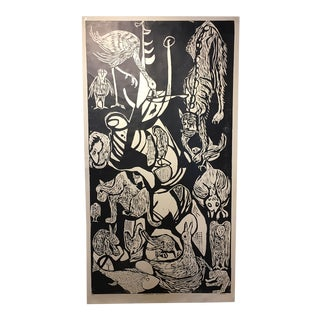 "Clay Walker ""Constant Threat - Dog Eats Cat"" Woodcut Print"