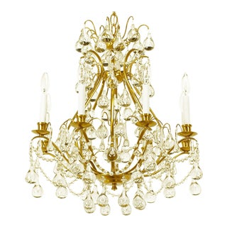 Brushed Brass and Raindrop Bubble Crystals Eight-Arm Chandelier