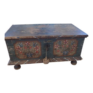 Antique Original German Painted Blanket Chest - Circa 1875