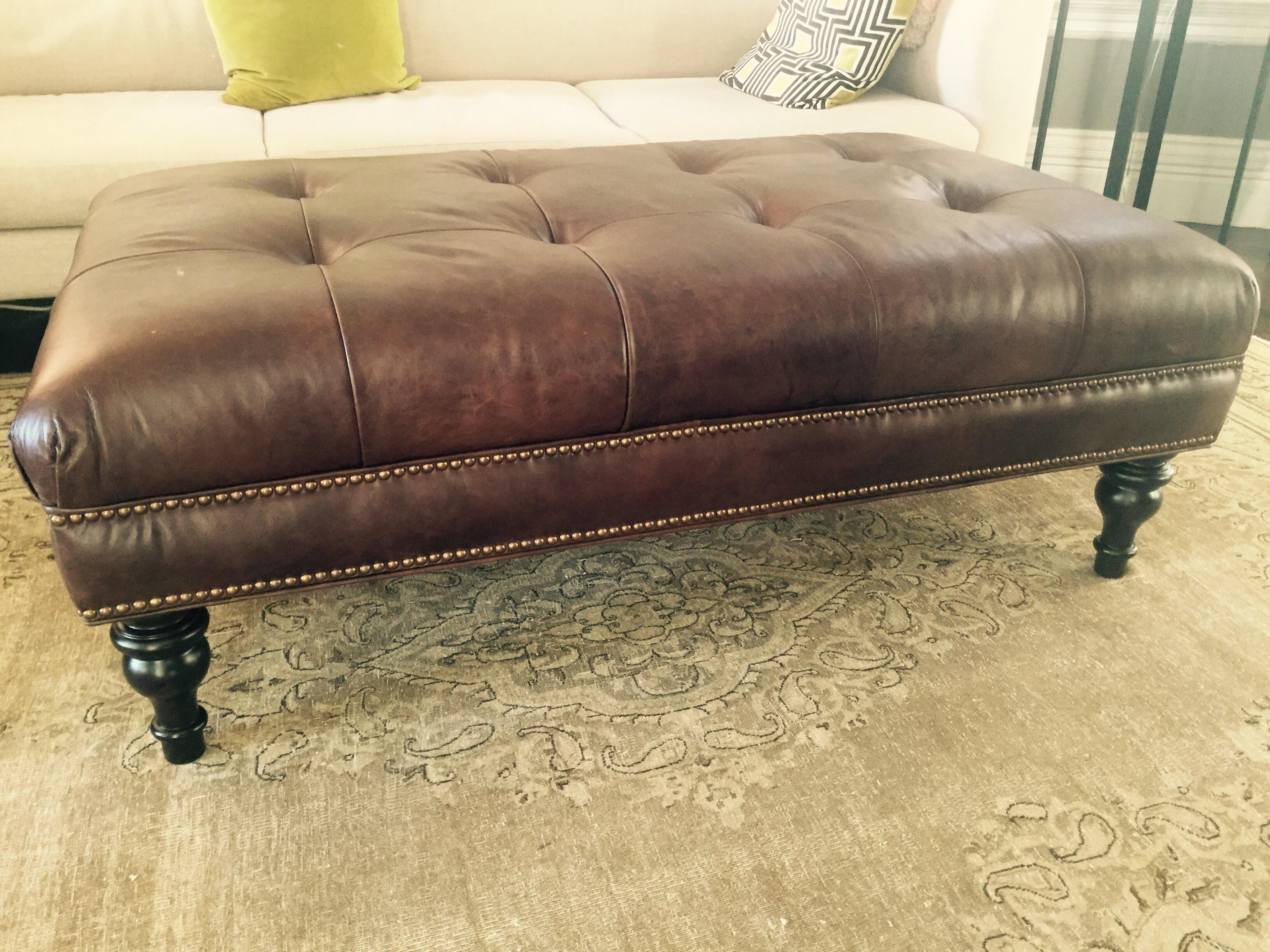 Pottery Barn Martin Tufted Leather Ottoman   Image 2 Of 2