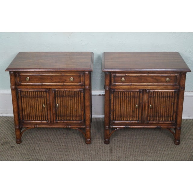 Image of Drexel Heritage Faux Bamboo Nightstands - A Pair