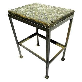 Antique Wallpaper-Print Steel End Table