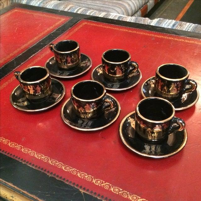 Greek Black & 24k Gold Demitasse Set - S/12 - Image 2 of 5