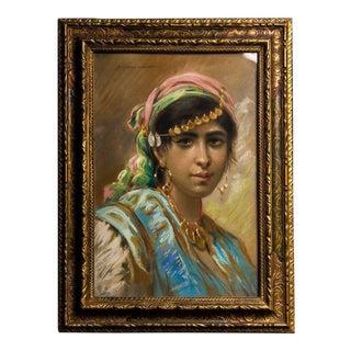 Pastel Portrait of a Berber Girl in Ornate Gilt Frame, Signed, circa 1900