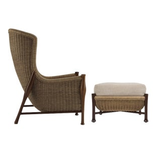 Bill Sofield for McGuire Mustique Sedan Chair & Ottoman - A Pair