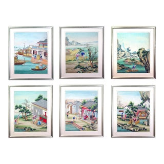 Chinese Watercolor & Gouache Paintings of Chinese Life - Set of 6