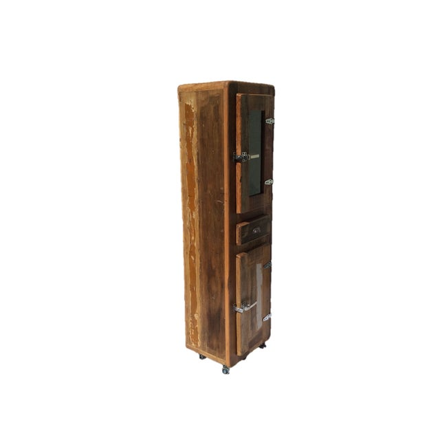 Wooden Refrigerator Cabinets ~ Reclaimed wood glass quot refrigerator cabinet chairish