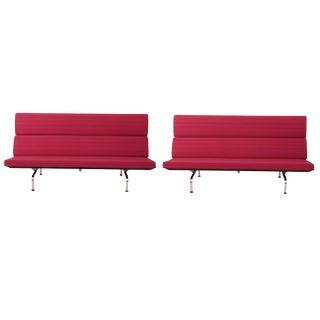 Rare Pair of Alexander Girard Fabric Eames 'Compact' Sofas
