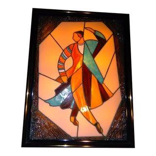 Vintage Slag Glass Metal Framed Lighted Sign