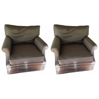 Kreiss Taupe Silk Club Chairs - A Pair