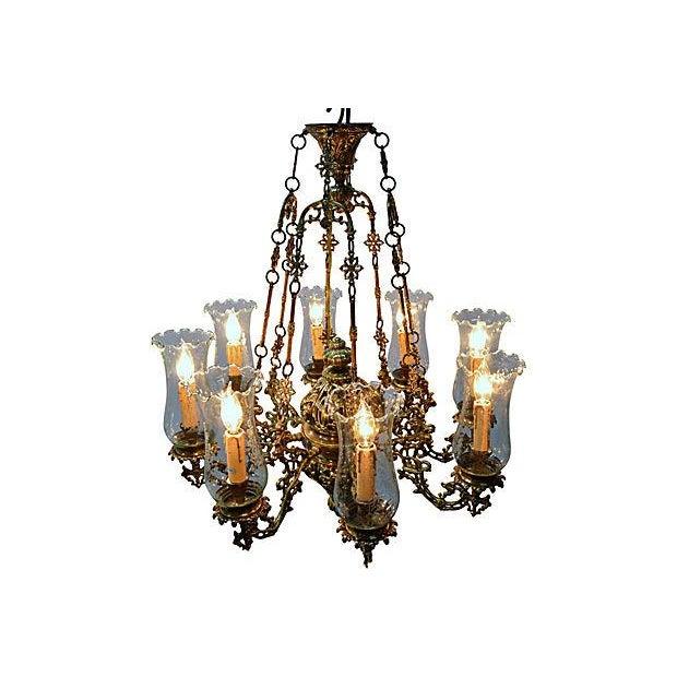 Antique Brass Chandelier 8 Lights W/Windshields - Image 5 of 7