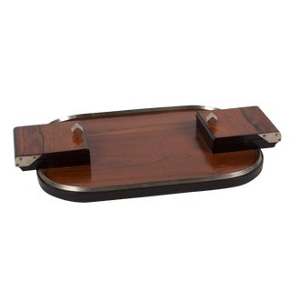 Mahogany Serving Tray with End Compartments, French, 1930s