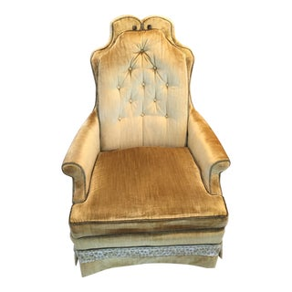 Hollywood Regency Muted Gold & Green Crushed Velvet Chair by Silver Craft