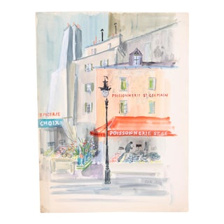 Poissonnerie St. Germain Painting c. 1950 by Edith Alder