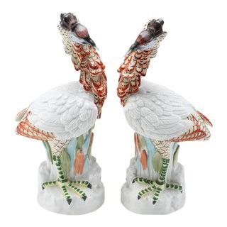 Mottahedeh Porcelain Crane Sculptures - A Pair