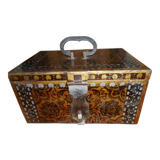 Floral Back & Brown Iron Box