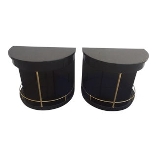 Henredon Black Lacquered Side Tables - A Pair