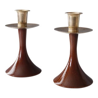 Mid Century Modern California Redwood Turned Wood Candlestick Holders - a Pair