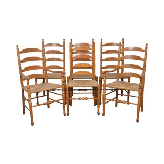 Ethan Allen Nutmeg Set of 6 Rush Seat Ladder Back Maple Dining Chairs