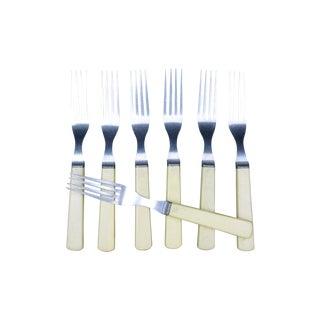 Vintage Celluloid & Stainless Dinner Forks - S/7