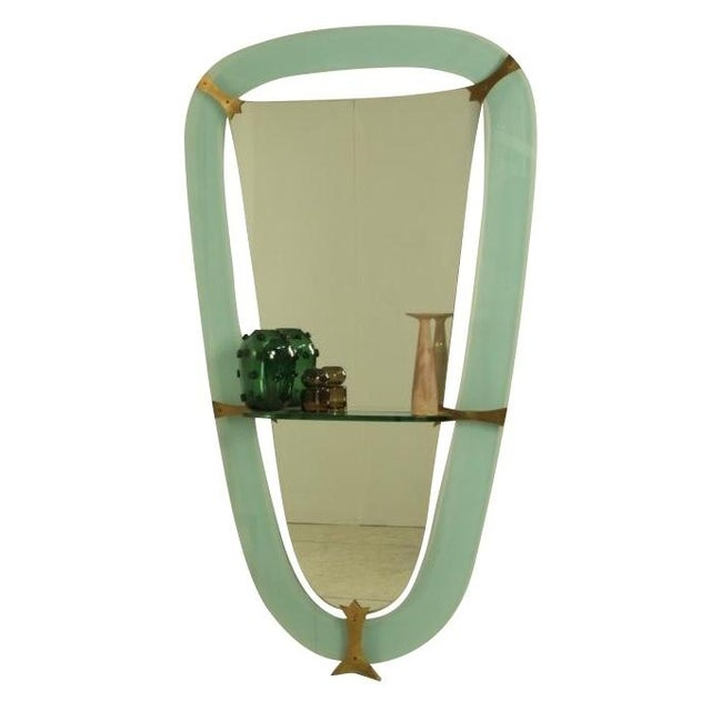 XL Crystal Art Green Glass Dressing Wall Mirror, Italy, 1950s - Image 1 of 4