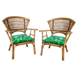 Vintage Bamboo Wicker Bentwood Fan Back Accent Chairs - Pair