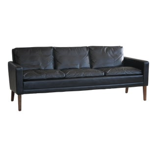 1960s Georg Thams Style Danish Black Leather 3-Seater Sofa