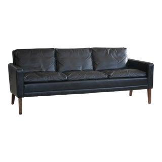 1960s Georg Thams Style Danish Black Leather 3-Seater Sofa