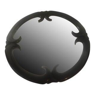 Art Deco Dorothy Draper Style Black Laquered Mirror
