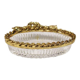 Vintage Brass Rope & Glass Soap Dish