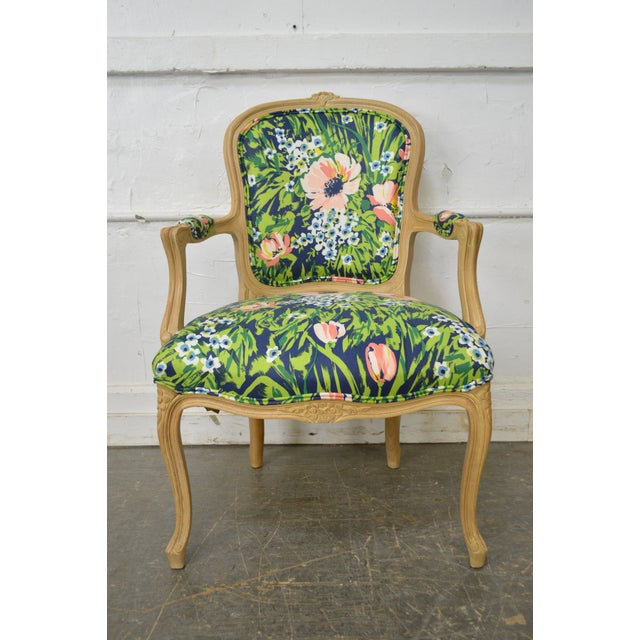 Woodmark French Louis XV Style Pair of Custom Upholstered Arm Chairs (B) - Image 10 of 11