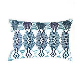 "Handwoven Teal & Blue Guatemalan Pillow - 21""x12"""