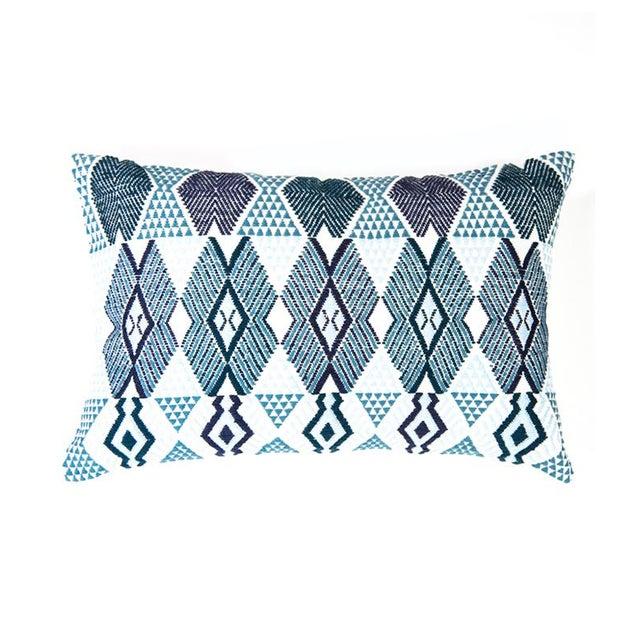 "Handwoven Teal & Blue Guatemalan Pillow - 21""x12"" - Image 1 of 8"