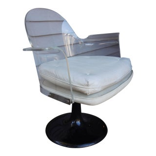 Vladimir Kagan Style Lucite Swivel Chair