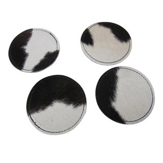 Cowhide Leather Coasters - Set of 4