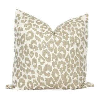 Schumacher Iconic Leopard in Linen Decorative Pillow Cover, 20x20